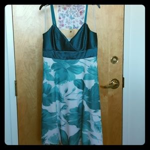 Laura Petite teal and white summer dress SALE